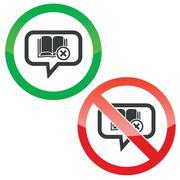 Remove book message permission signs - stock illustration