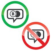 Bitcoin  coin message permission signs - stock illustration