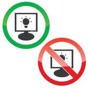 Light bulb monitor permission signs Stock Illustration