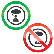 Thinking permission signs - stock illustration