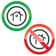 Cottage permission signs - stock illustration