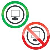 Stock Illustration of Monitor permission signs