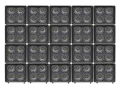 Giant Wall of Bass Speakers Stock Photos