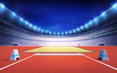Stock Illustration of athletics stadium with long and triple jump post