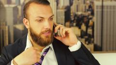 Angry worried business man at home on the phone Stock Footage
