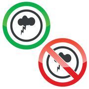 Thunderstorm permission signs - stock illustration