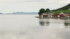 West Coast of Norway peacefull island with houses Stock Footage