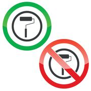 Paint roller permission signs Stock Illustration