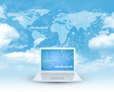 Laptop in cloud sky - stock illustration