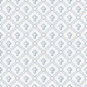 Stock Illustration of Pale Blue and White Cross Symbol Tile Pattern Repeat Background