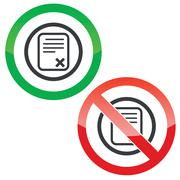 Decline document permission signs - stock illustration