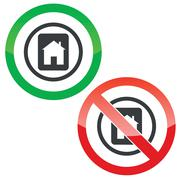 House tablet permission signs Stock Illustration