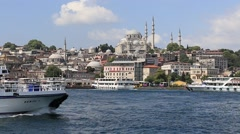 Beyoglu district  historic architecture and Muslim Mosque. Istanbul, Turkey Stock Footage