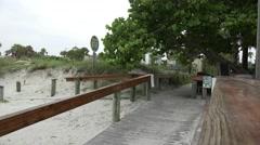Beach Board Walk And Green Tree Stock Footage