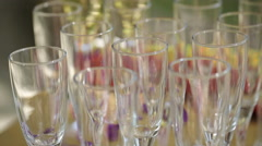 Empty Glasses of Champagne Stock Footage