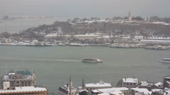 A winter panorama of Istanbul Stock Footage