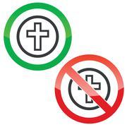 Christian cross permission signs Stock Illustration