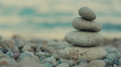 Balanced Spa Stones on a Background of the Sea Stock Footage