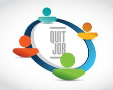 Stock Illustration of quit job network sign concept