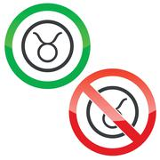 Taurus permission signs - stock illustration