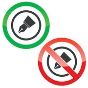 Ink pen nib permission signs - stock illustration