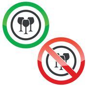Wine glass permission signs Stock Illustration