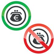 Euro purse permission signs Stock Illustration