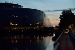 European Parliament building reflected in Ill rive Stock Photos
