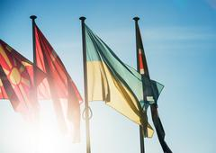 Ukraine and other flags in Strasbourg, European Capital Stock Photos