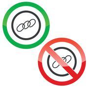 Chain permission signs - stock illustration