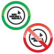 Stock Illustration of Build wall permission signs