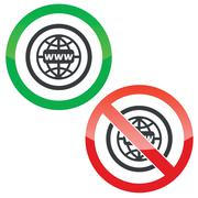 Global network permission signs - stock illustration