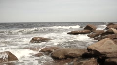 Slow motion ocean waves in a rocky cove dreamlike Stock Footage
