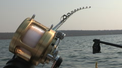Fishing rod on boat Stock Footage