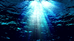 Underwater light filters down through blue water - Water FX0304 HD, 4K Stock Footage