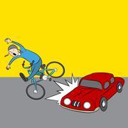 Cartoon Car Hits Bike Rider Stock Illustration