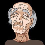 Cartoon Sad Depressed Old Man - stock illustration