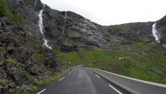 Driving the Trollstigen Road and Stigfossen Waterfall time lapse Stock Footage