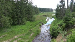 4k Harz mountain range valley with river Oder spring water Stock Footage