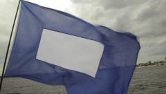 The signal flag for the start of the regatta.. Sailing, regatta on the river Stock Footage