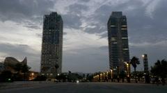 Barcelona skyscrapers near port olimpic marina Stock Footage
