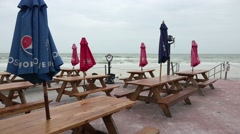 Before The Storm Empty Picnic Tables At The Beach Stock Footage