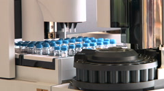 Equipment in chemical laboratory. DNA or virus analysis sampling machine, tubes Stock Footage