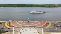 The ship moves along the Volga Stock Footage