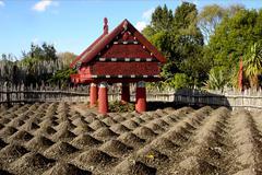 Te Parapara Maori Garden in Hamilton Gardens New Zealand - stock photo