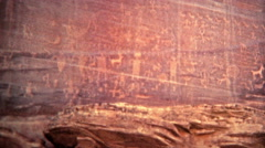 1972: Alien cave drawings of human like figures and symbols. Stock Footage