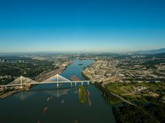 Aerial view of Port Mann Bridge, BC Canada - stock photo