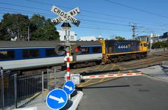 MAXX train in crossing railway in Auckland New Zealand Kuvituskuvat