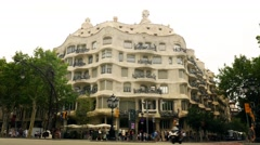 Gaudi Pedrera building in Barcelona - stock footage