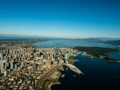 Aerial view of downtown Vancouver and Canada Place, BC Canada Stock Photos